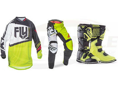 Fly Racing Lime F-16 Jersey Pant Boots Combo Set MX/ATV Motocross Riding Gear