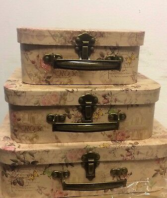 Set of 3 x Vintage Chic Shabby Floral Butterfly Style Storage Boxes Suitcase New