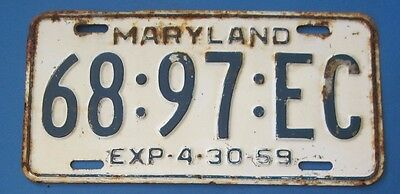 1959 Maryland License Plate #1
