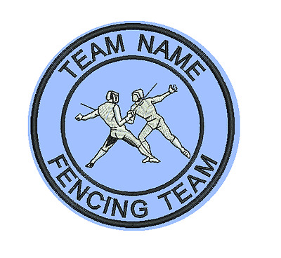 9cm Felt Embroidered Sports Club or Team Badge Your own Text Fencing