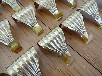 10 Brass Fluted Picture Rail Hooks Job Lot