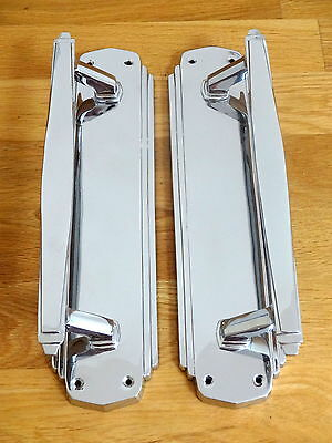 "Large Pair 12"" Door Pull Handles Art Deco Chrome Knobs Grab"