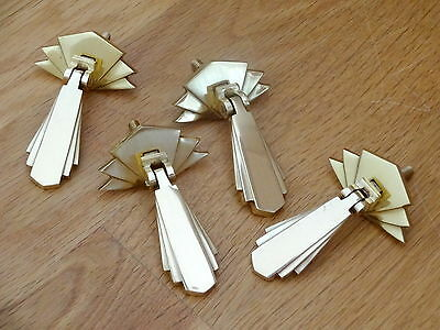 4 Brass Door Cupboard Drawer Dresser Drop Handles Knobs Art Deco Furniture