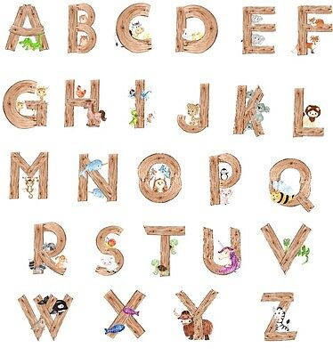 watercolor style animal alphabet wall letter decal for baby nursery wall decor