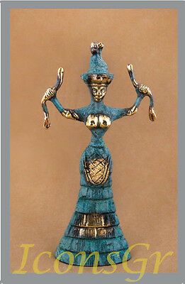 Ancient Greek Bronze Museum Statue Replica Of The Snake Goddess Collectable 250