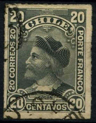 Chile 1900-1 SG#79, 20c Grey, Christopher Columbus Used #D37509