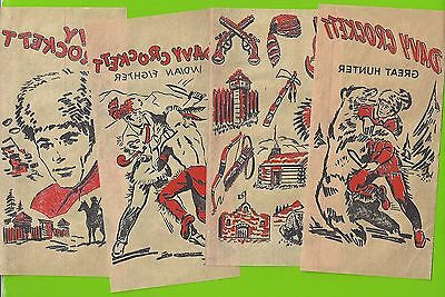 1950's Davy Crockett  Iron-On Transfers (4) Brown Lot A
