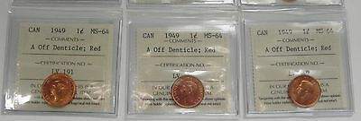 1949 Canada 1 Cent A Off Denticle ICCS Certified MS-64 Red