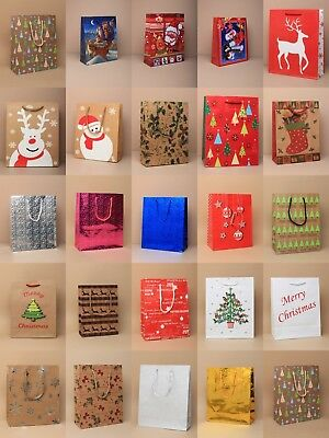 Pack Of 12 Christmas Gift Bags, Medium / Large ,xmas Present, Wholesale, Value