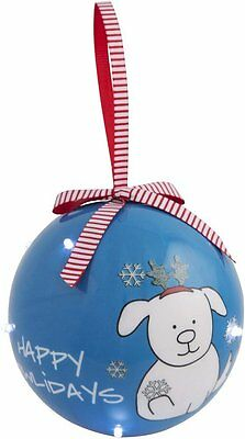 Happy Howlidays Christmas Ornament Ball Dog Reindeer Antlers Blinking Lights