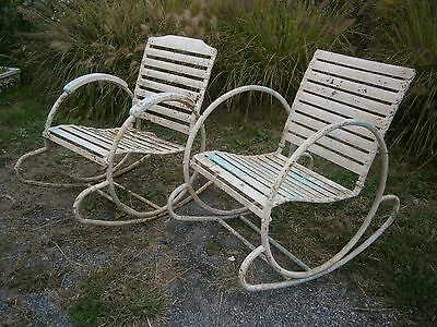 Rare Art Deco Iron Rocking Chairs Circle sides Slat Seats French Garden Chairs