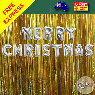 """Merry Christmas Foil Balloons Party Home Decorations Wall Letters 17"""" 43cm Gold"""