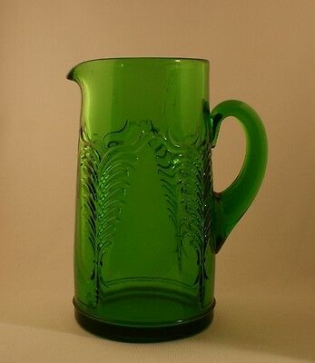 Vintage EAPG Heisey Glass Company Emerald Green Winged Scroll Tankard Pitcher