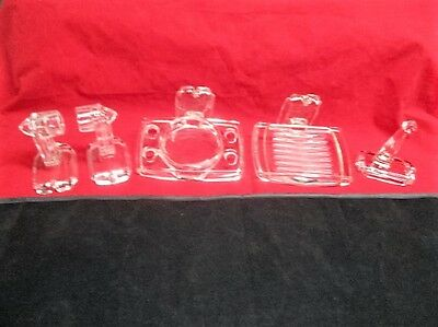 Vtg Art Deco 5 Piece Clear Glass Bathroom Accy Set Toothbrush Holder Soap Dish