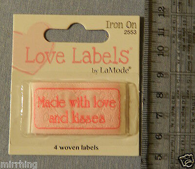 "Lovelabels ""Made with love and kisses"" -  Iron-on Labels"