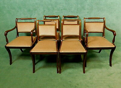 Set Of Six Reproduction Mahogany Regency Style Sabre Leg Chairs