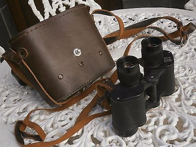 Antique Vintage Binoculars B 8 X 30 With Original Leather Case