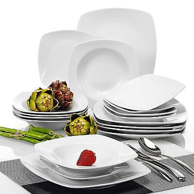 18-Piece Ivory White Porcelain Dinner Combi-Set with Cups Saucer Dessert Plate