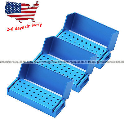 3PCS ALUMINIUM Dental Bur Burs Holder Block Disinfection Box Autoclave 30 Holes