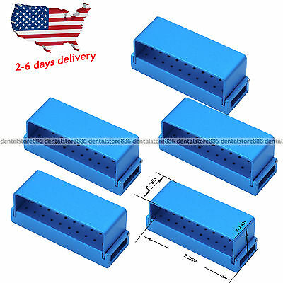 5 Pcs ALUMINIUM Dental Bur Burs Holder Block Disinfection Box Autoclave 30 Hole
