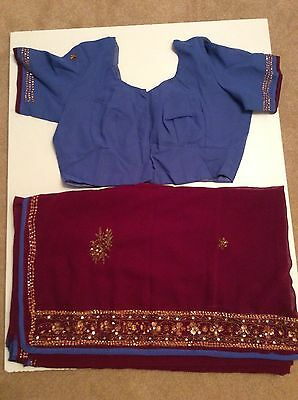 Traditional Burgundy Sari With Blue Border And Gold Sequins Saree