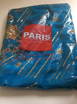 Traditional Blue Sari With Gold Sequins (Paris Branded) Saree