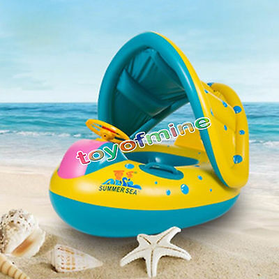 Jet Ski Baby Kids Float Swim Ring Pool Water Toy with Shade