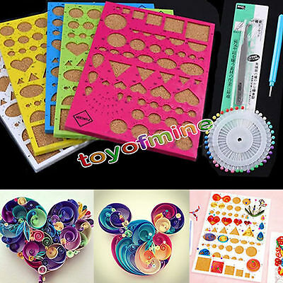 1 Set Quilling Template Tool DIY Origami Paper Kit Mould Tweezer Needles Random