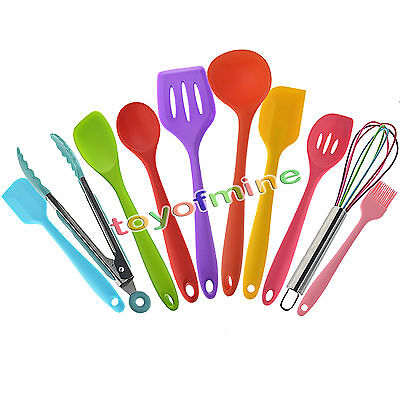 Kitchen Cooking Silicone Utensils Non-Stick Baking Tool Heat Resistant 10Pcs/set
