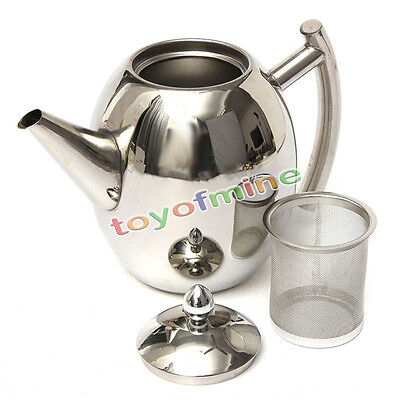 1000ML Stainless Steel Teapot Tea Pot Coffee With Tea Leaf Filter Infuser Silver