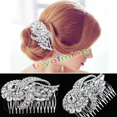 Wedding Bridal Crystal Rhinestone Hair Comb Pin Headdress Head Piece Tiara