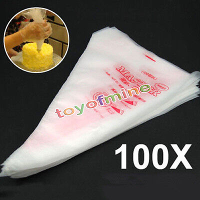 100Pcs Pastry Bag Plastic Disposable Icing Piping Frosting Cake AU