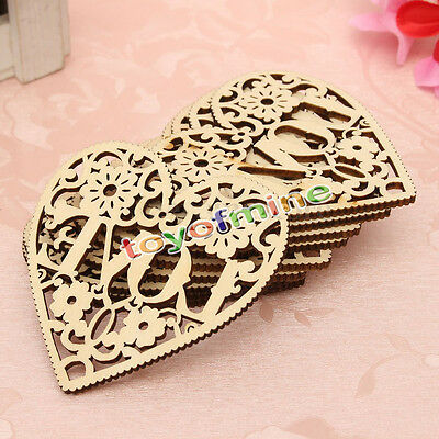 10x Laser Heart Unfinished Wooden Shapes Cut Decorative Craft Embellishments
