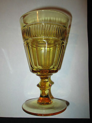Eapg Amber Glass Goblet Prism & Flute Loop With Prism Band Mioton Pleat Band