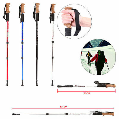 Adjustable Ultralight 3-section Hiking Walking Trekking Trail Poles Canes Sticks