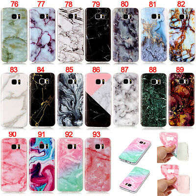 Marble Slim Rubber Soft TPU Gel Back Case Cover For Samsung S4 S5 S6 S7 S8 Plus