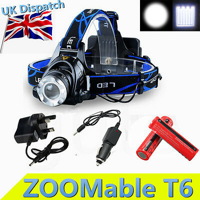 6000LM Zoomable CREE XML T6 LED Rechargeable Head Torch Headlamp Headlight 18650