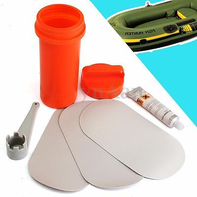 3 PVC Ellipse Patches + Glue + Wrench + Container Kit For Inflatable Boat Repair