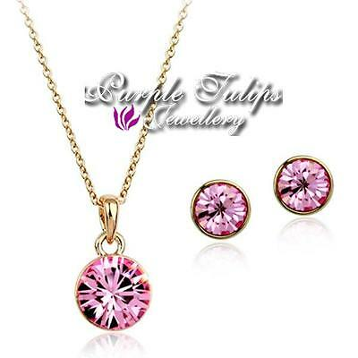 1553d9eb2fff 18CT Rose White Gold Plated Made With SWAROVSKI Crystal Necklace Earrings  Set