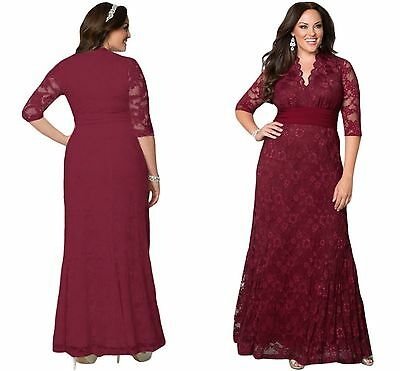 Ladies Burgundy Elegant Formal Lacy Lace Evening Party Maxi Dress Gown 14 16 18