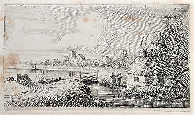 David Charles Read (1790-1851) etching. River landscape with cottage and figures