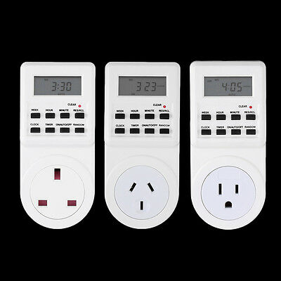 7 Day Digital Electronic LCD Plug-in 12/24 Hour Timer Switch Plug Socket DQ