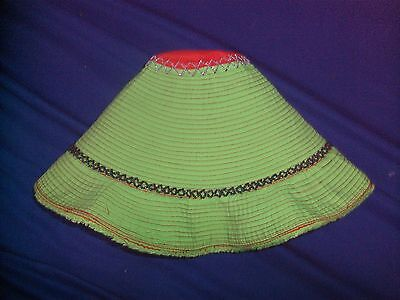Traditional Women Ladies Cambodian Sun Hat - Green Local Farmer Design Hat