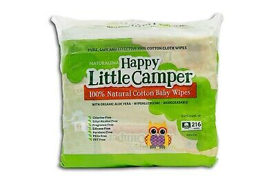 Happy Little Camper Baby Wipes, Natural All-Cotton with Organic Aloe, 216 Ct