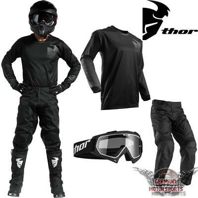 Motocross Combo Jersey Shirt Hose Brille Schwarz Blackout Thor Pulse Offroad Mx
