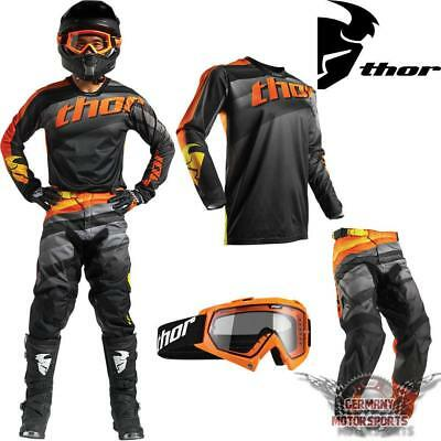Motocross Combo Jersey Shirt Hose Brille Schwarz Orange Thor Pulse Offroad Mx Sx