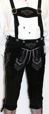 Black LEATHER LEDERHOSEN German SHORTS + SUSPENDERS Oktoberfest BUNDHOSEN PANTS