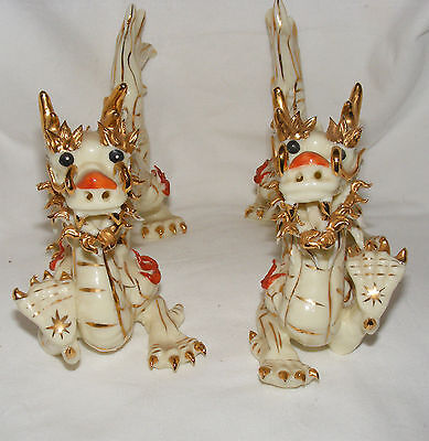 Pair Of Vintage Chinese Porcelain Dragons Gilt Decoration Figurines Statues