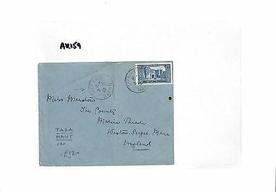 AK159 1928 French Colonies Morocco TAZA HAUT scarce origin CDS Somerset Cover