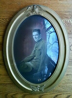 Historic Wwi Military Doughboy Soldier Photo Convex Oval Glass Gold Gilt Frame